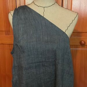 Loft chambray one shoulder top L